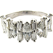 Vintage 18 Karat White Gold Diamond Ring Size 8.5