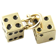 Vintage 14 Karat Yellow Gold Dice Charm