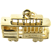 Vintage 14 Karat Yellow Gold San Francisco Cable Car Charm