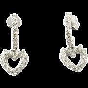 Vintage 14 Karat White Gold Diamond Heart Earrings