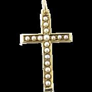 Vintage 10 Karat Yellow Gold Pearl Cross Pendant