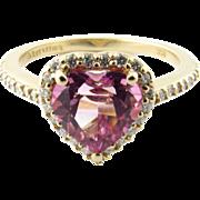 Vintage 14 Karat Yellow Gold Pink Alexandrite and Diamond Heart Ring Size 8