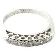 Vintage 14 Karat White Gold Diamond Wedding Band Size 5.25