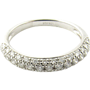 Vintage 18 Karat White Gold Diamond Wedding Band Size 7