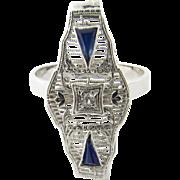 Vintage 14 Karat White Gold Filigree and Sapphire Ring Size 7.5