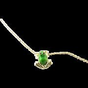 Vintage 14 Karat Yellow Gold Green Enamel Frog Pendant Necklace