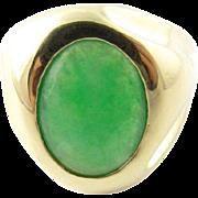 Vintage 14 Karat Yellow Gold J. Arnold Frew Jade Modernist Ring Size 8