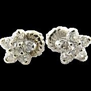 Vintage 14 Karat White Gold Diamond Flower Earrings