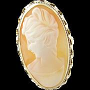 Vintage 14 Karat Yellow Gold Cameo Ring Size 8.5