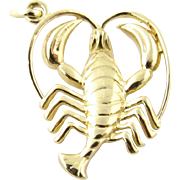 Vintage 14 Karat Yellow Gold Scorpion Pendant