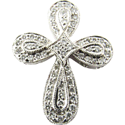 Vintage 18 Karat White Gold Diamond Cross Pendant