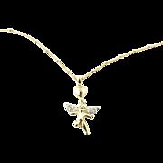 Vintage 14 Karat Yellow Gold and Diamond Angel Necklace