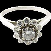 Vintage 14 Karat White Gold Diamond Ring Size 6.75