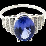 Vintage 14 Karat White Gold Amethyst and Diamond Ring Size 7