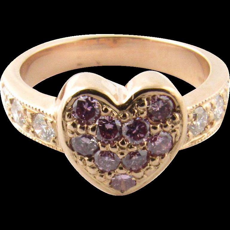 Vintage 14 Karat Yellow Gold Pink and White Diamond Heart Ring Size 5