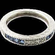 Vintage 14 Karat White Gold Sapphire and Diamond Wedding Band Size 7