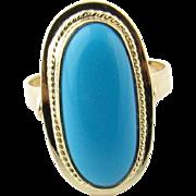 Vintage 14 Karat Yellow Gold Turquoise Ring Size 5.75