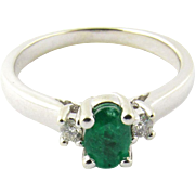 Vintage 14 Karat White Gold Emerald and Diamond Ring Size 6.25