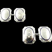 Vintage 14 Karat White Gold and Diamond Cufflinks