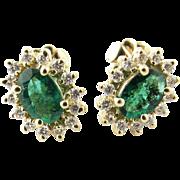 Vintage 14 Karat Yellow Gold Genuine Emerald and Diamond Earrings