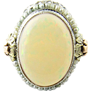 Vintage 14 Karat White Gold Opal and Pearl Ring Size 5.25
