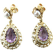 Vintage 14 Karat Yellow Gold Amethyst and Pearl Earrings
