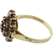 Antique Victorian 900 Silver Bohemian Garnet Ring Size 9.25