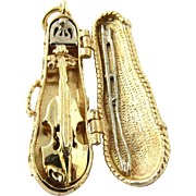Vintage 14K Yellow Gold and Turquoise Violin Pendant / Charm in Violin Case with Bow