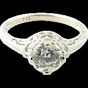 Vintage 14 Karat White Gold Diamond Engagement Ring Size 6.5