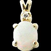 Vintage 14 Karat Yellow Gold Opal and Diamond Pendant