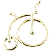Vintage 14 Karat Yellow Gold Old-Fashioned Bicycle Charm