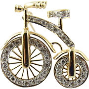 Vintage 14K Yellow Gold 3D Big Wheel Bicycle with Diamond Spinning Wheels Pin Brooch
