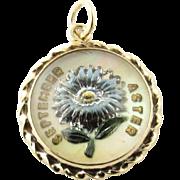 Vintage 14 Karat Yellow Gold September Aster Glass Pendant