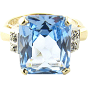 Vintage 14 Karat Yellow Gold Blue Topaz and Diamond Ring Size 6.25