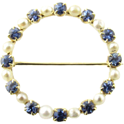 Vintage 14 Karat Yellow Gold Sapphire and Pearl Brooch/Pin