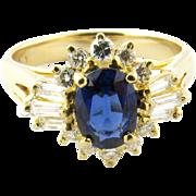 Vintage 18 Karat Yellow Gold Sapphire and Diamond Ring Size 6.25