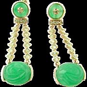 Vintage 14 Karat Yellow Gold Jade and Peridot  Earrings