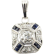 Vintage 14 Karat White Gold Diamond and Sapphire Pendant