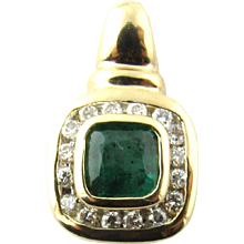 Vintage 14 Karat Yellow Gold Emerald and Diamond Pendant