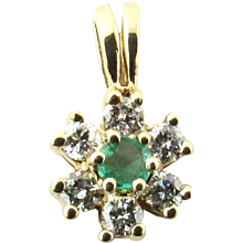 Vintage 10 Karat Yellow Gold Emerald and Diamond Pendant