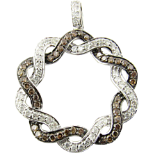 Vintage 14 Karat White Gold Chocolate and White Diamond Pendant