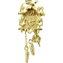 Vintage 14 Karat Yellow Gold Mechanical Cuckoo Clock Charm
