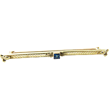 Vintage 10 Karat Yellow Gold and Blue Topaz Brooch/Pin