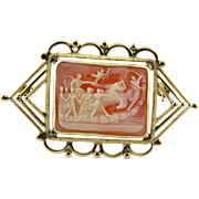 Vintage Pink and White Chariot Scene Cameo with 14K Yellow Handmade Frame Brooch Pin