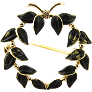 Vintage 14K Yellow Gold and Black Enamel Wreath Brooch Pin