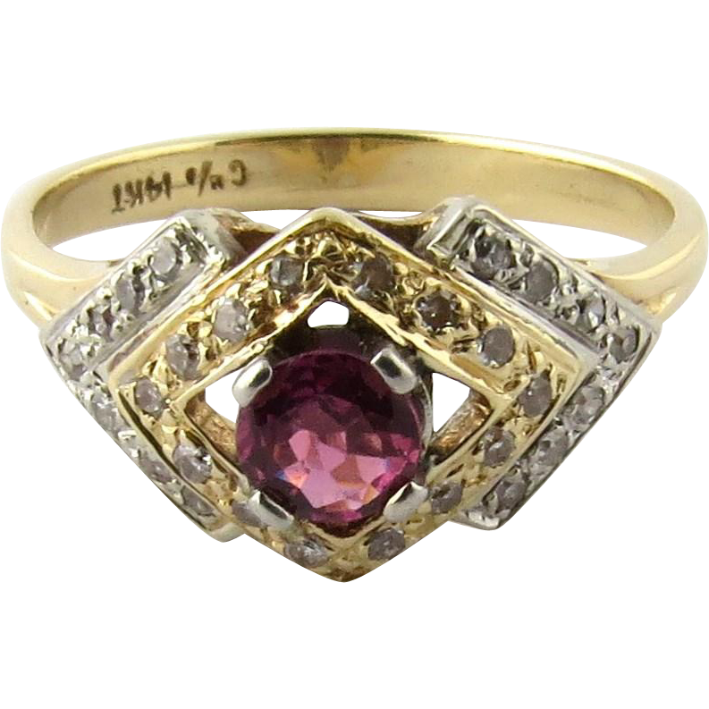 antique deco two tone 14k white and yellow gold ruby