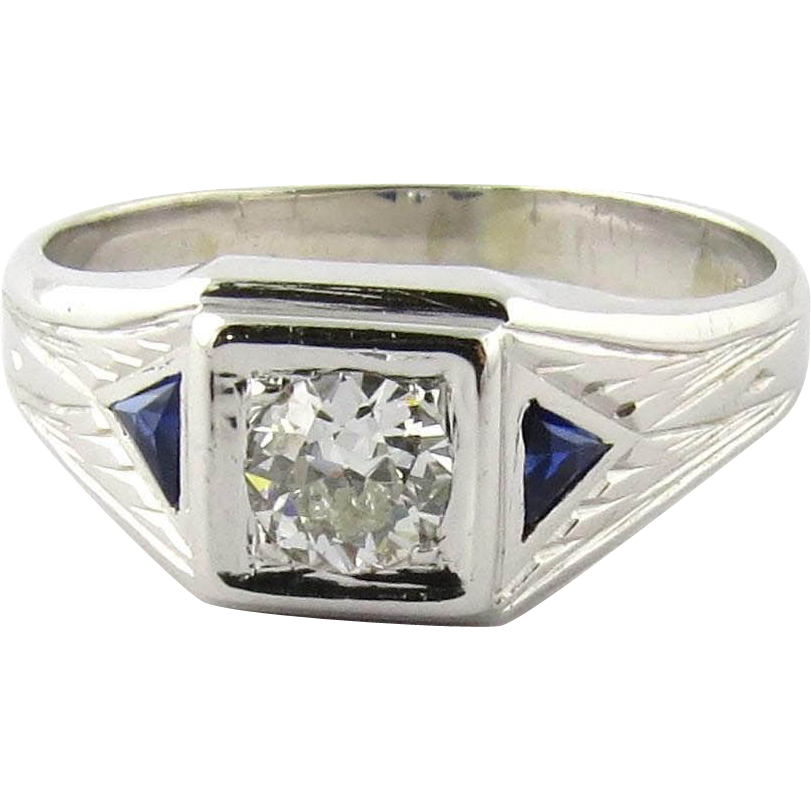 Men's Vintage 14K White Gold Diamond and Sapphire Ring ...