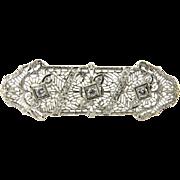 Antique Art Deco 14K White Gold Diamond Filigree  Brooch Pin