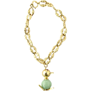 Vintage 14K Yellow Gold and Jade Duck with Ruby Eyes Charm on Link Bracelet