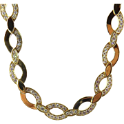 Vintage Cartier 18K Yellow Gold and Diamond Oval Link Necklace Choker Heavy